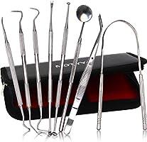 MOTYYA Dental Tools 8pcs, Professional Teeth Hygiene Kit Stainless Steel Dental Pick Cleaning Set,Tongue Scraper,Tooth...