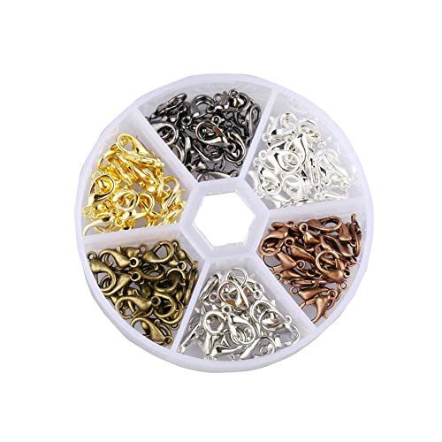 120Pcs 6 Color Lobster Clasps Zinc Alloy Lobster Claw Clasps Jewelry Clasps Jewelry Fastener Hook for Necklaces Bracelet DIY Jewelry Making Handicrafts (12x7mm)