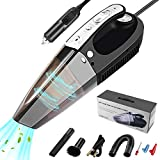 Car Vacuum Cleaner, 4-in-1 Handheld Vacuum Cleaner with LED Light, Tire Pressure Gauge and Car Inflator,12V DC, 100W/6000Pa Strong Power Suction, HEPA Filter, for Wet and Dry