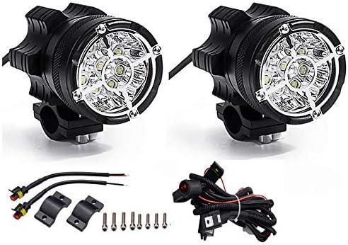 Paire de Phares LED de Moto Projecteur Avant Feux de Brouillard Supplémentaires pour Moto Quad avec Interrupteur et S...