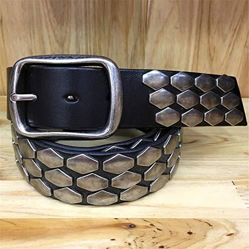 MICEROSHE Cómodo Cinturón Punk Cinturón de Cuero de Las Mujeres Cinturón Unisex Punk Cinturón y Accesorios de Escala Cinturón Pin Hebilla Hombres (Color : Black, Size : 105cm)