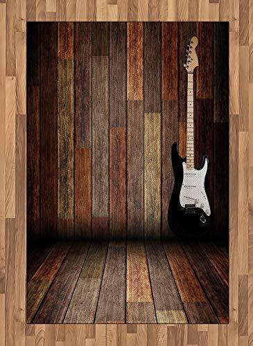 ABAKUHAUS Fiesta Pop Alfombra de Área, Guitarra Eléctrica Cuarto de Madera Dentro de Casa de Campo Tema Música, Tejida Acento Decorativo para Sala de Estar o Dormitorio, 120 x 180 cm, Marrón