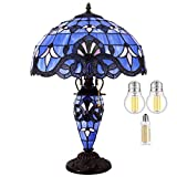 Tiffany Style Table Lamp W16H24 Inch (3 LED Bulb Included) Tall Blue Purple Lavender Stained Glass Baroque Lampshade Antique Night Light Base S003C WERFACTORY Lamps Living Room Bedroom Reading Gifts