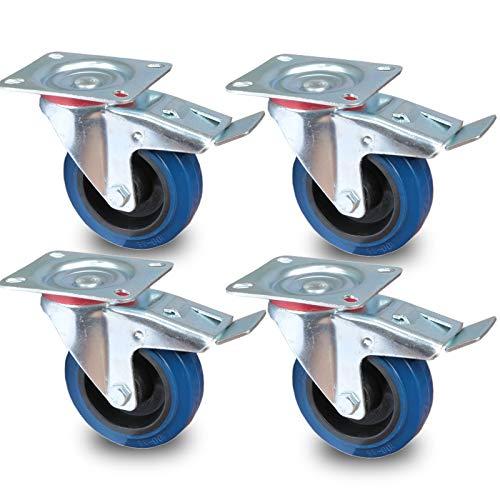 PRIOstahl® Transportrollen Lenkrolle mit Bremse blau   100mm  blue wheels   Lenkrolle mit Bremse (4 Rollen)