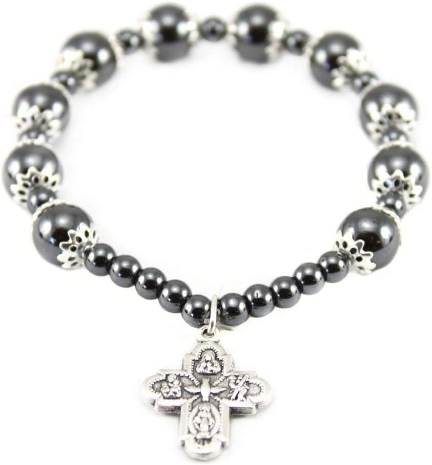 Rosary Bracelet Hematite Capped Beads Four way Cross