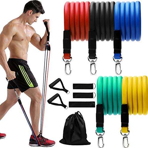 11 Pack Resistance Bands Set, Grentay Exercise Resistance Bands for Men and Women with Handles Door Anchor Ankle Straps,Resistance Loop Band and Workout Guide for Home Workouts, Including 5 Stackable