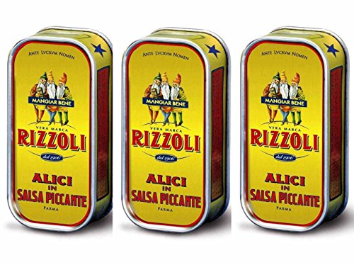 Filletts des anchois RIZZOLI en sauce piquante - 3 boites (90 gr x 3) (Tre Gobbetti)