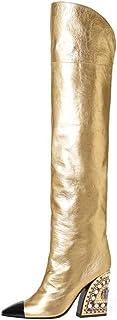 YZT QUEEN Mujer Botas sobre la Rodilla, Lentejuelas de Cuero de PU Brillante Sexy Botas Altas de Muslo elástico Alto, Bota...