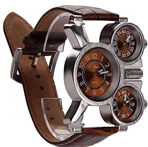 NaiCasy Reloj de Tres diales analógicos de los Hombres multifuncionales Manos Luminosas y diseño de la Correa de Cuero cómodos (marrón) 1 Paquete