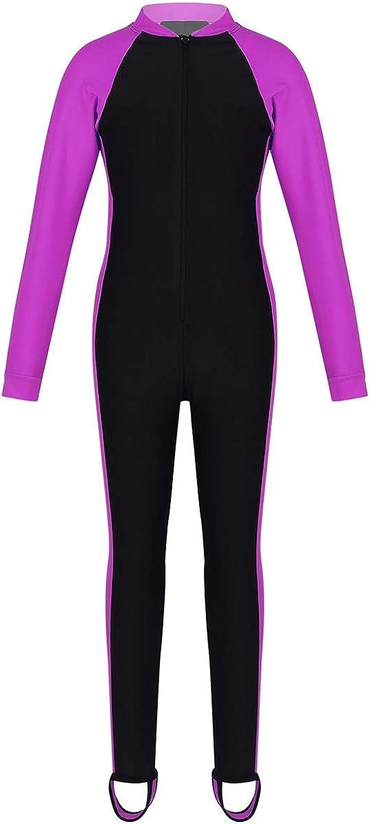 Choomomo Kids Boys Girls One Piece Long Sleeves Swimwear Swimsuit Zipper Front UPF 50+ Rash Guard Bathing Suit