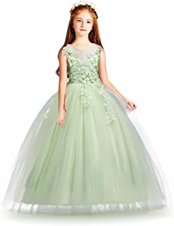 b64516daf397d HUAANIUE Cérémonie Robe de Soirée Princesse Classique Fille Mariage Robes  Demoiselle d Honneur Taille Motif