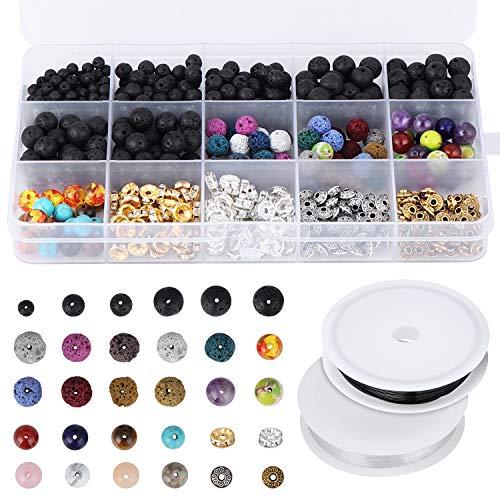 Coolty 606 piezas de perlas de lava, cuentas de piedras de lava variadas de color chakra, cuentas espaciadoras con 2 cuerdas elásticas elásticas para adultos, para hacer collares de aceite esencial