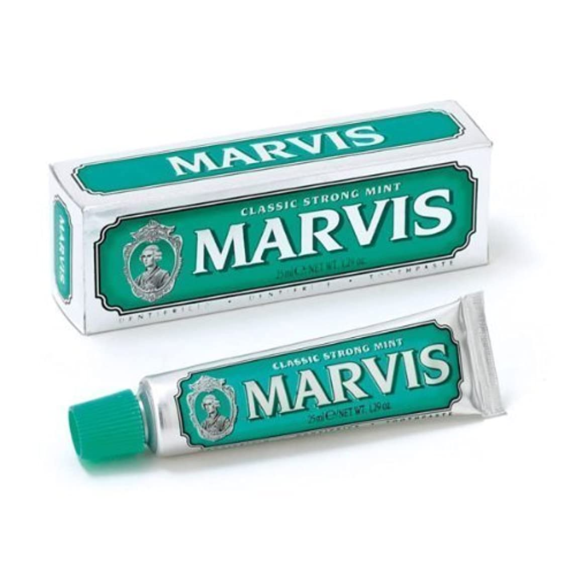 拡張しがみつく細断Marvis Toothpaste - Classic Strong Mint 25ml Travel Size - 4 PACK by Marvis [並行輸入品]