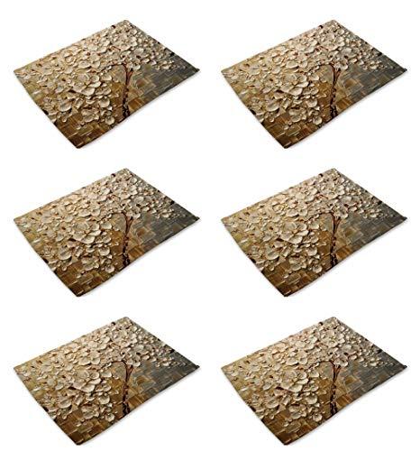 Juego de 6 manteles individuales de algodón y lino para mesa de comedor, diseño moderno 3D al óleo, color beige, lavable, respetuoso con el medio ambiente, resistentes al calor, antideslizantes, para decoración moderna del hogar, cocina, comedor