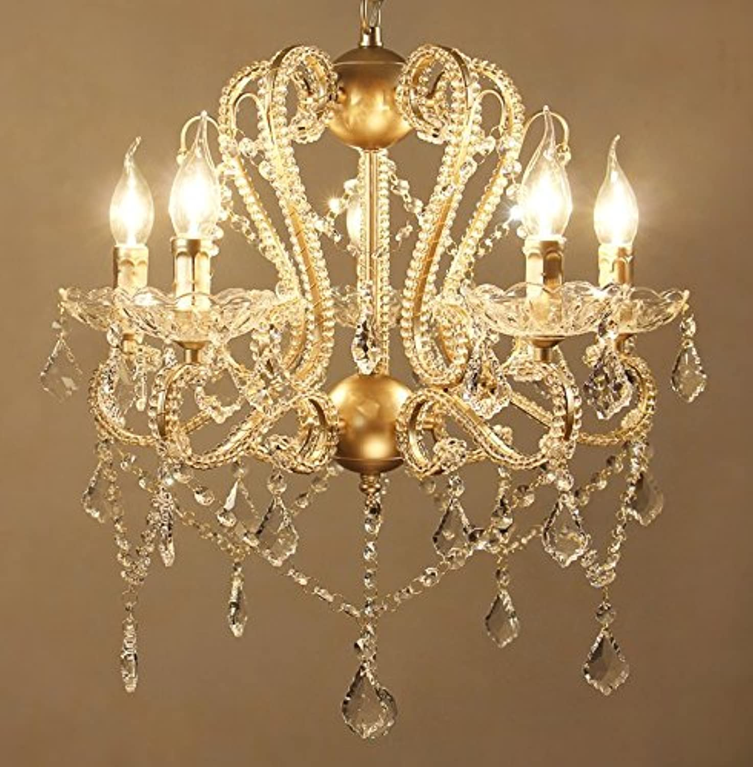 SUN-E American Vintage Chandeliers golden Metal Frame with Glass Beads & Maple Leaf Shape K9 Crystals Pendant Ceiling Fixture Lamp W22  H26