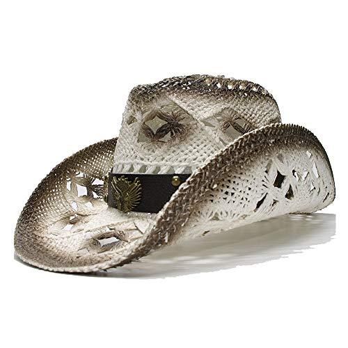 Sombra Sombrero para el Sol Sombrero de Playa de Paja para Mujer de los Hombres Retro Cowboy Western Cowgirl Hat Banda de Cuero con señal Hueca Elegante (Color : 1, tamaño : 56-58CM)