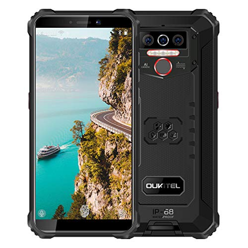 "Rugged Phone Unlocked OUKITEL WP5(2020) Android 10.0 Cell Phones 8000mAh Battery IP68 Waterproof Mobile Phone 4GB+32GB Dual SIM 5.5"" HD+ Face ID Fingerprint Global 4G LTE GSM AT&T T-Mobile(Black)"
