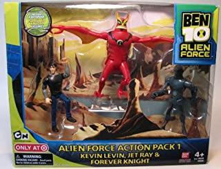 Ben 10 Alien Force 4 Inch Exclusive Action Figure 3-Pack Action Pack 1 (Kevin Levin, Jet Ray and Forever Knight)