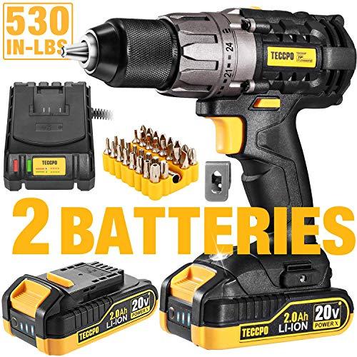 "Drill Driver, 20V 1/2"" Cordless Drill Set 2x2.0Ah Li-Ion Batteries, 30Min Fast Charger 4.0A, 29pcs Accessories, 24+1 Torque Setting, 2-Variable Speed Max Torque 530 In-lbs, Metal Keyless Chuck"