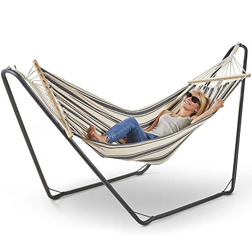 VonHaus Single Hammock with Metal Frame Standing Swinging Hammock for Outdoor, Garden and Patio