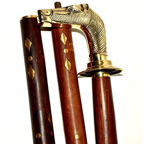 Nautical World Bastón con cabeza de caballo, bastón de madera, bastón de caminar…XD545