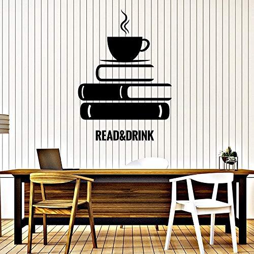 Tianpengyuanshuai Lezen muur sticker boek koffie lezen kamer boekhandel decoratie vinyl sticker cafe muurschildering