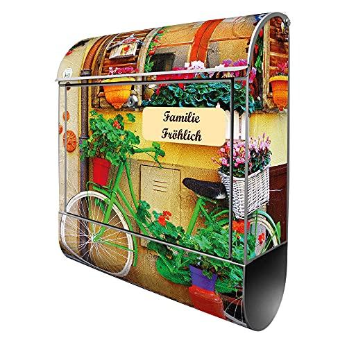 banjado® Design Briefkasten personalisiert mit Motiv Grünes Fahrrad 39x47x14cm & 2 Schlüssel - Briefkasten Stahl silber mit Zeitungsfach pulverbeschichtet - Postkasten A4 Einwurf inkl. Montagematerial