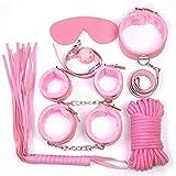 8Pcs BDŚM Śëx Tőys Leather Bôňdáģê Sets Bêd KÏnky Cospaly Props Hândcuffs for Men Wômen Côuples Bīnding Tőy Kit, Best Gift - Pink TYBWYAYNR