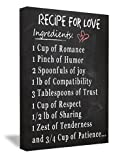 FRAMED CANVAS PRINT (Chalkboard look) Recipe for Love Ingredients: 1 cup of romance 1 pinch of humor 2 spoonfuls of joy 1 lb of compatibility 3 tablespoons of trust 1 cup of respect 1/2 lb