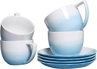 Sunddo Tea Cup Set with 4 Tea Cups and Saucers Sets 8 OZ Blue and White Porcelain Tea Cups for Women Men
