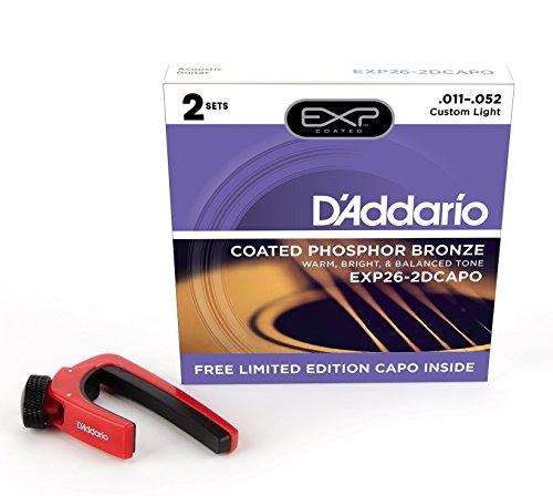D'Addario EXP16-2DCAPO 12-53 snaren voor akoestische gitaar (Light Coated snaren) EXP26-2DCAPO.