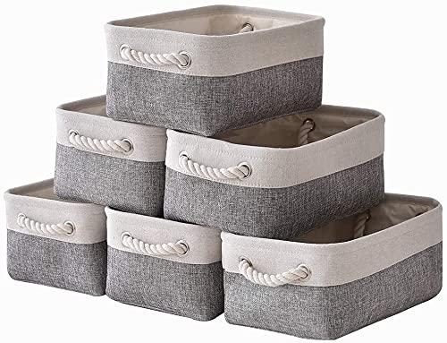 [Amazonブランド] Umi(ウミ)-収納バスケット 綿麻製 収納ボックス ランドリーバスケット 洗濯かご 折りたたみ式 取っ手付き 生活雑貨 おもちゃ 収納 アイテム 浴室 部屋 おしゃれな綿麻製収納ボックス 可愛い収納ボックス 収納かご 6個セット