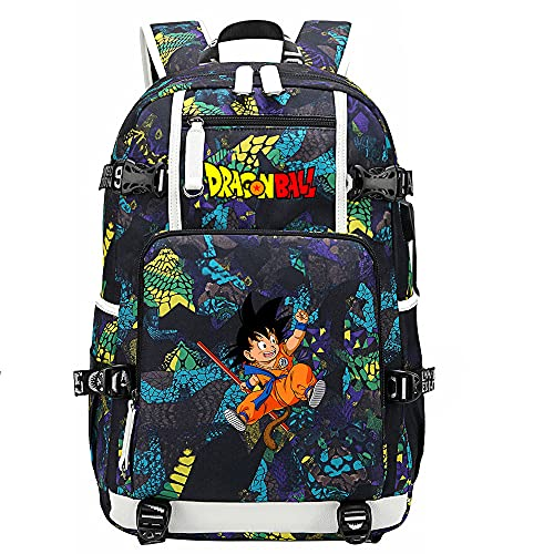 ZZGOO-LL Dragon Ball Son Goku/Vegeta IV Anime Backpack Middle Student School Rucksack Daypack for Women/Men with USB-E