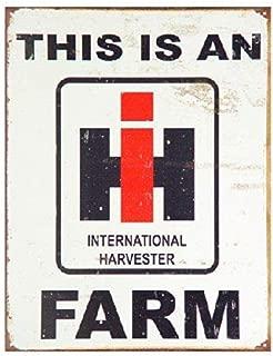 SRongmao International Harvester Farm Farmall Tractor Barn Retro Vintage Look Metal Tin Sign 8x12in