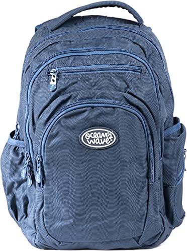 Ocean's Wave - Mochilas escolares, Mochila infantil grande con tela impermeable y bolsillo para portátil 33 Litros, Blue Wave