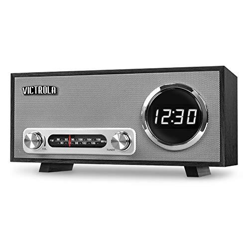 Victrola Bluetooth Digital Clock Stereo with FM Radio and USB Charging, Black