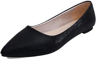 [アンリ] パンプス ローヒール ぺたんこ ポインテッドトゥ フラット 靴 黒 シルバー 23cm ~ 25cm レディース