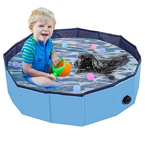 Faltbarer Hundepool, Haustier Faltbarer Swimmingpool, Planschbecken Hundebadewanne Swimmingpool für Hunde, Wasserteich Pool Kinderbecken zum Haustiere Schwimmen und Baden im Freien, Blau(80 x 20cm)