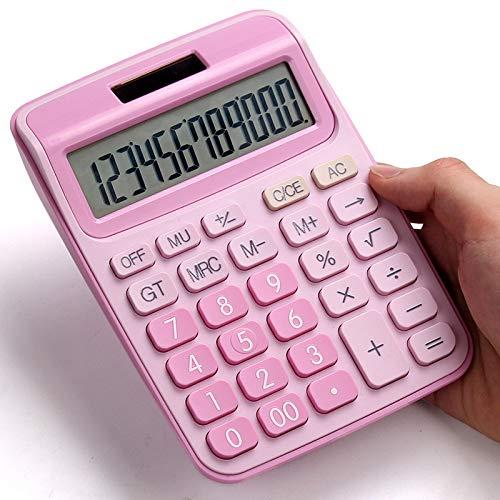 TEDLKU rekenmachine met spraakrekenmachine schattige Candy Koreaanse kleur Little Fresh rekenmachine computer grote keys financiële boekhouding meisjes speciaal roze Wit.