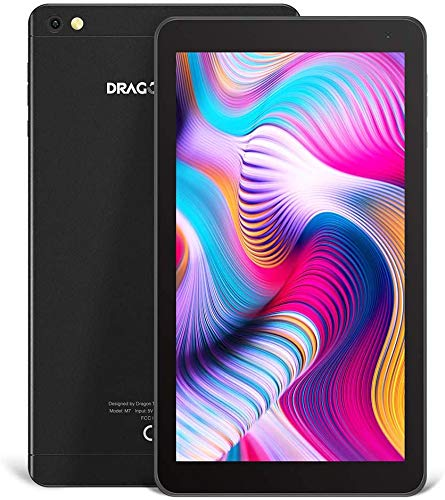 tablet dragon touch Tablet touch 7 pollici Android Dragon Touch Android 9.0 Pie 16 GB ROM 2 GB RAM Processore Quad Core Schermo HD 1024 x 600 IPS Doppia Fotocamera 2MP Wi-Fi 2.4G Bluetooth per Bambini e Adulti – Nero