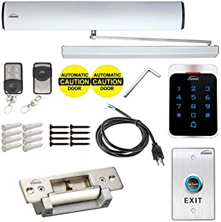 Visionis PFC-7360 110V Electric Automatic Door Opener + Closer for 440lb in-Swing Doors + 2 Wireless Remotes + VIS-7013 No Touch Exit Button + Stand Alone VIS-3022 Outdoor Keypad + Electric Strike