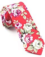 "CityRaider Men's Skinny Tie Floral Print Cotton Necktie 2.35"" for Weddings,Groom,Groomsmen,Missions,Dances,Gifts (Red 210367)"