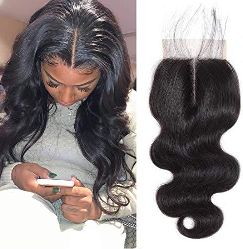 BLISSHAIR Haarteil, 7A, 100 % jungfräuliches indisches Haar, Mittelscheitel, gewellt, Lace-Verschluss 3,5x 4