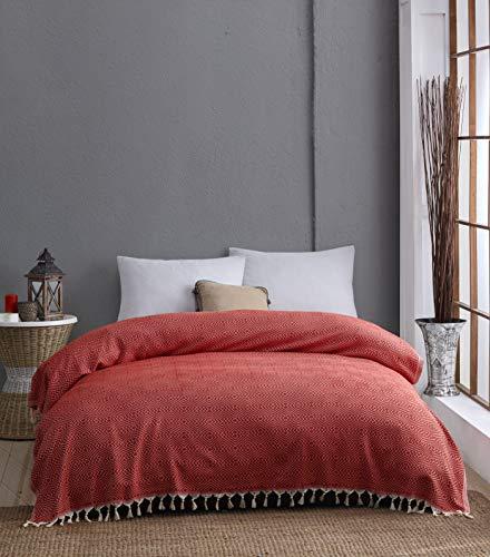 Belle Living Hitit Tagesdecke Überwurf Decke - Wohndecke - ideal für Bett und Sofa, 100% Baumwolle - handgefertigte Fransen, 200x250cm (Rot)