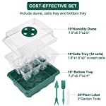 Acmind 10 Packs Seed Starter Trays Seedling Tray, Humidity Adjustable Kit with Dome and Base Greenhouse Grow Trays Mini… 12 Keep and eye on your growth:Our germination growing trays kit made of high quality transparent and durable plastic, this seed trays make it easy to observe your plants without interrupting the process. Seed starter tray contains: 10 x seed tray, 10 x bottom tray(5 Green & 5 Black), 10 x humidity dome(5 Green & 5 Black), 2 x garden tools, 20 x plant labels (A must have for seedling). Good Helper of Seed Starter:Adjustable vents on the humidity dome of this seed starter kit allow you to regulate the temperature and humidity of your seedling environment, so you have total control over the growing process.