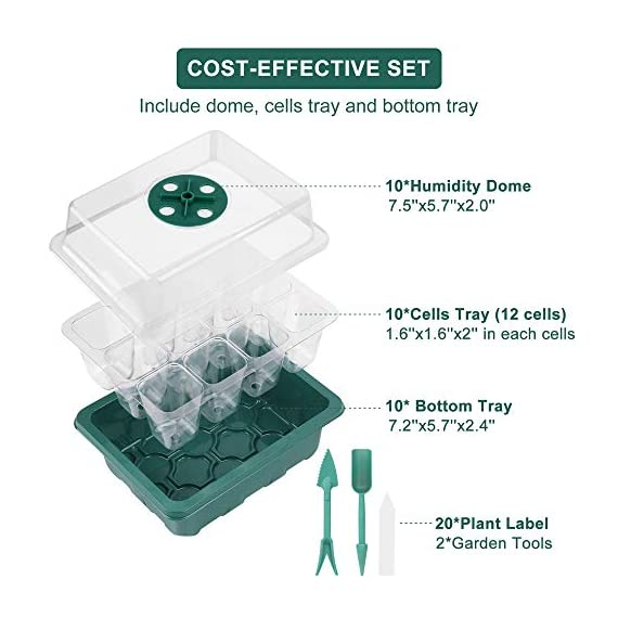 Acmind 10 Packs Seed Starter Trays Seedling Tray, Humidity Adjustable Kit with Dome and Base Greenhouse Grow Trays Mini… 5 Keep and eye on your growth:Our germination growing trays kit made of high quality transparent and durable plastic, this seed trays make it easy to observe your plants without interrupting the process. Seed starter tray contains: 10 x seed tray, 10 x bottom tray(5 Green & 5 Black), 10 x humidity dome(5 Green & 5 Black), 2 x garden tools, 20 x plant labels (A must have for seedling). Good Helper of Seed Starter:Adjustable vents on the humidity dome of this seed starter kit allow you to regulate the temperature and humidity of your seedling environment, so you have total control over the growing process.