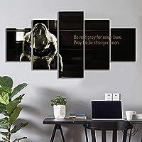 「簡単な生活のために祈らないでください、より強い男性になるように祈ってください」インスピレーションを与える壁の装飾絵画ジムの装飾研究装飾/ 30x40 30x60 30x80cm-フレームなし