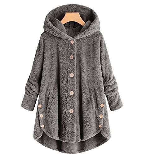 Liujingxue dames winter jas, warme dames winterjas, button pluche onregelmatige vaste kleur mantel, leuke overgangs- & winterjas