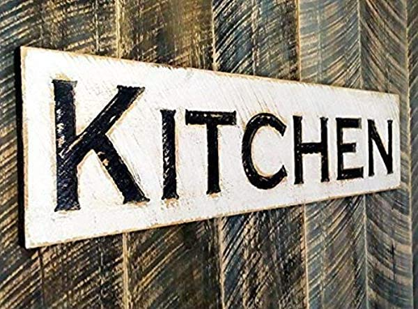 Kitchen Sign 40x10 Horizontal Carved In Cypress Board Rustic Distressed Kitchen Farmhouse Style Restaurant Cafe Wood Wall Art Decoration