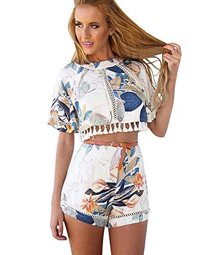 Minetom Frauen Weinlese-Blumen Kurzarmshirts und Shorts Set Floral Jumpsuit Shorts Party Club Strand Playsuit (Style 1 EU M)